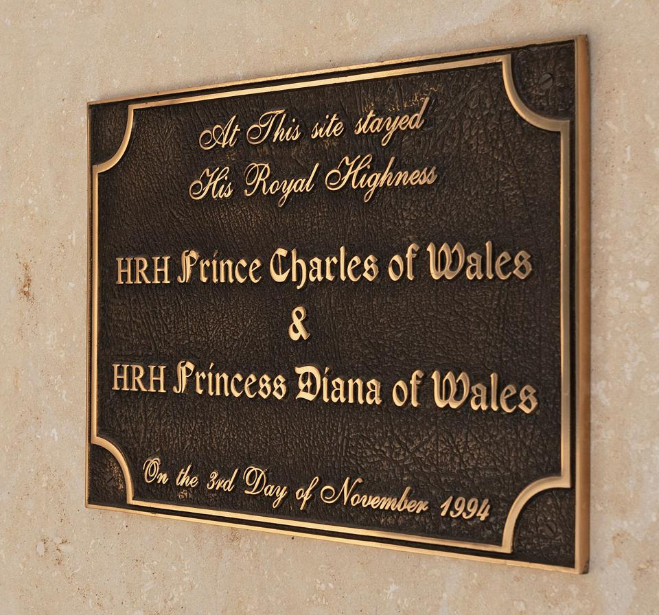 Spelling Manor Prince Charles and Diana plaque