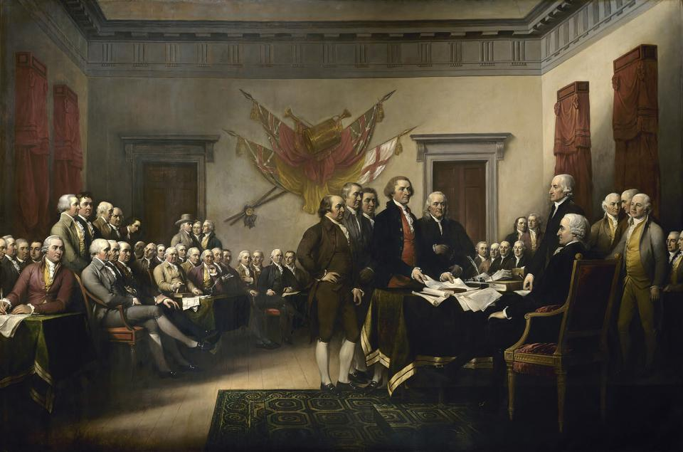 Painting of leaders presenting the Declaration of Independence.