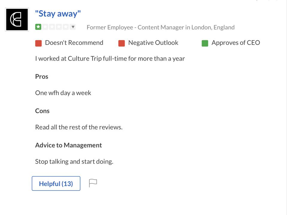 An example aledged Culture Trip employee review published on Glassdoor.