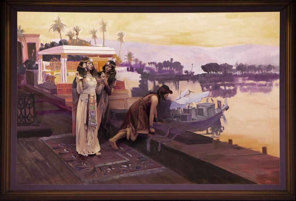 Frederick Arthur Bridgman's Cleopatra on the Terraces of Philae as re-enacted at the Pageant of the Masters.