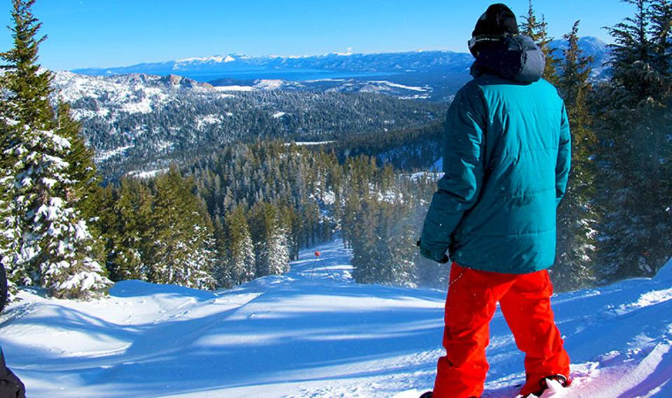 A skier gets ready to challenge Sierra-at-Tahoe Resort.