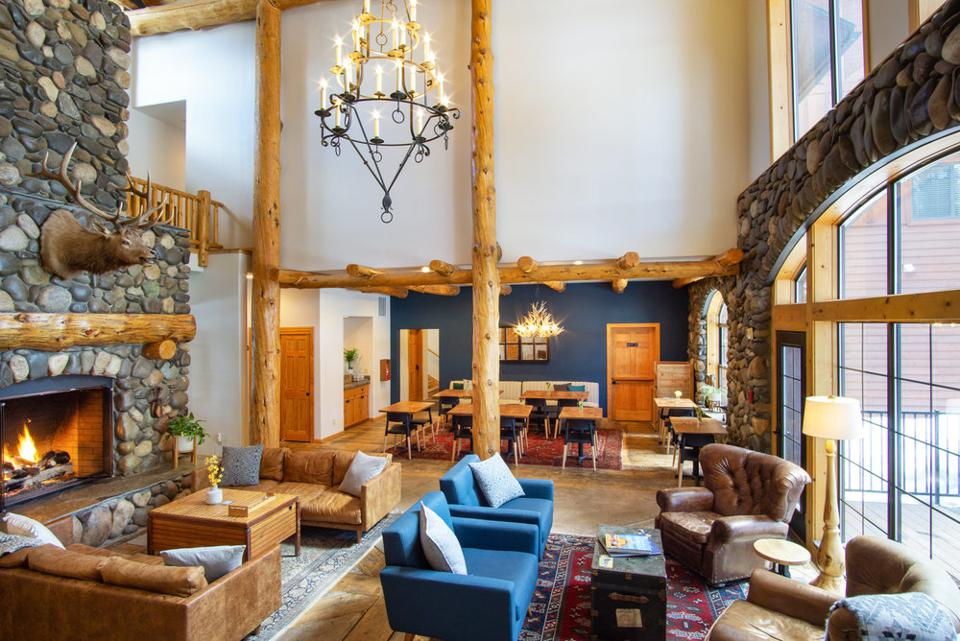 The spacious interior of Black Bear Lodge welcomes guests.