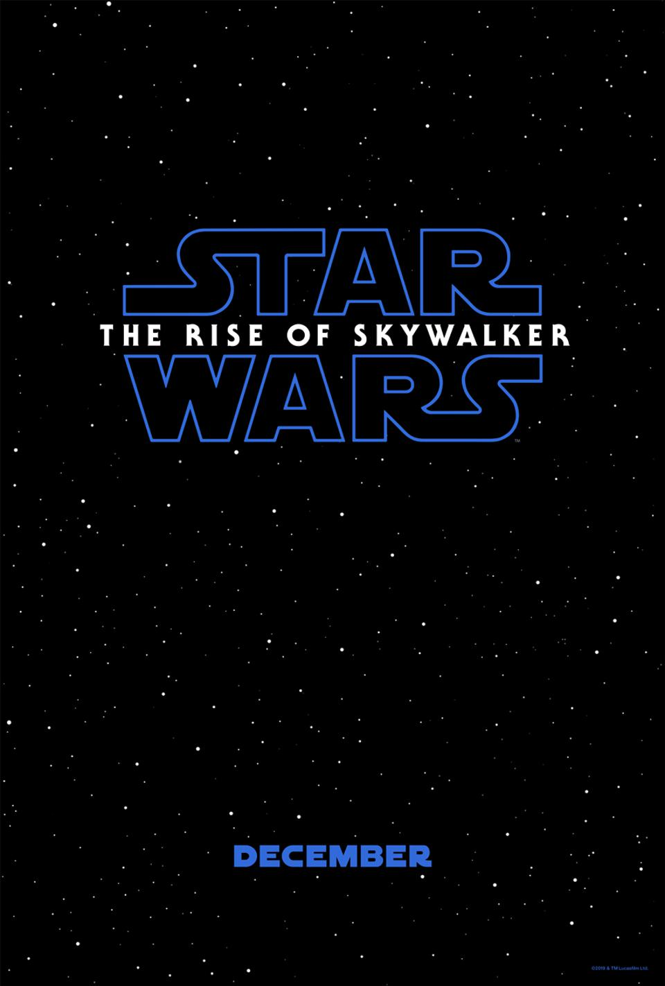 Official teaser poster for Lucasfilm's ″Star Wars: The Rise of Skywalker″