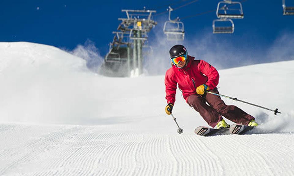 A skier enjoys fresh powder at Kirkwood Ski Resort.