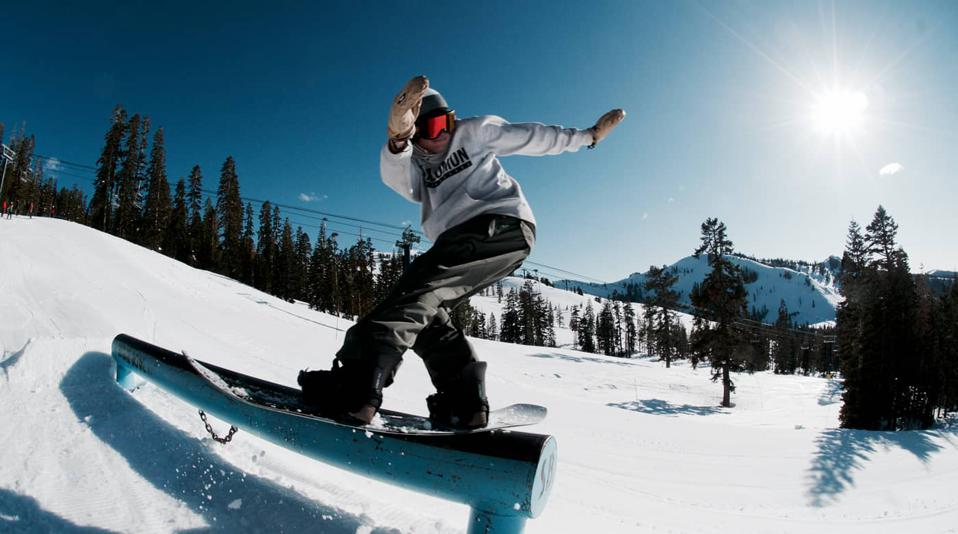 A boarder rides fresh powder at Sugar Bowl Resort.