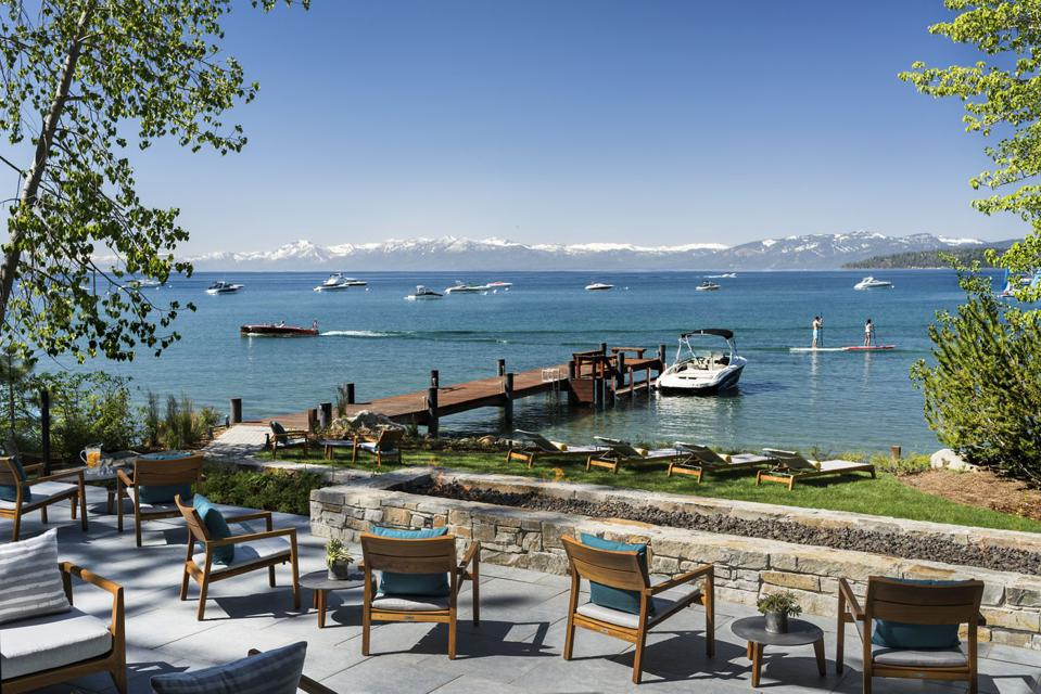 Guests can relax lakeside at the opulent Lake Tahoe hotel.