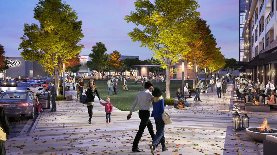 An artist's rendering of a town center public space, with grass and walkways, that will be built at Westfield Garden State Plaza in Paramus, N.J.