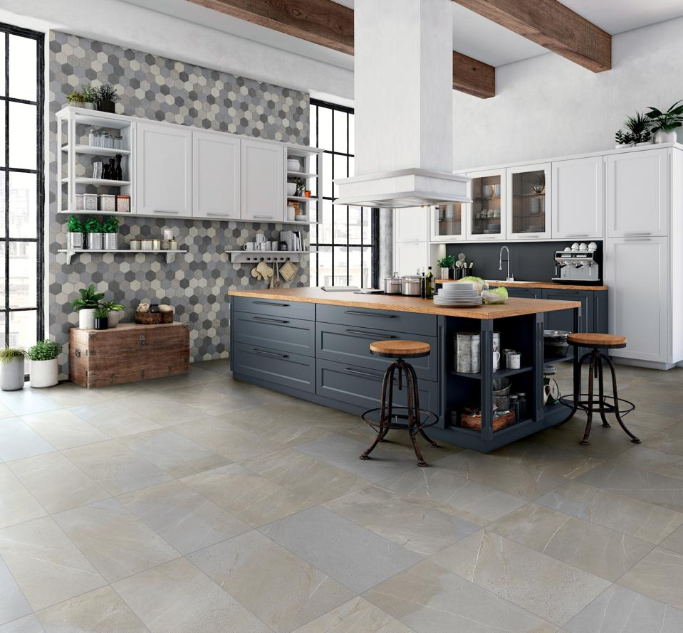 This Divinity porcelain tile was inspired by angel stone extracted from an exclusive quarry in the Italian Alps. It was manufactured by Floridatile.