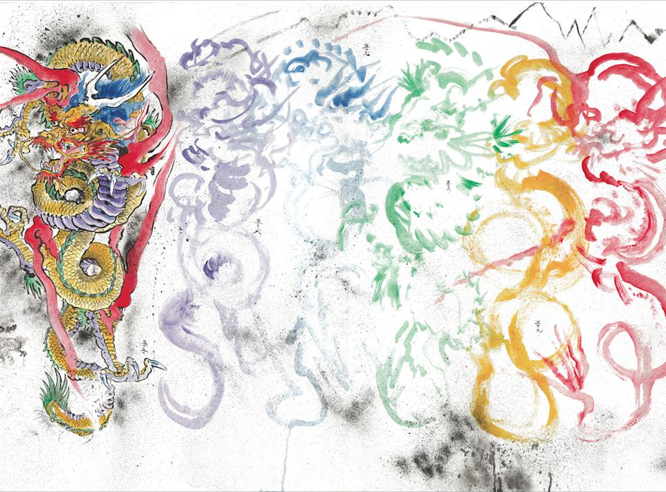 "Don Ed Hardy (American, b. 1945). ""2000 Dragons″ (detail), 2000. Acrylic on Tyvek, 4 1/4 x 500 ft. Collection of the artist. © Don Ed Hardy. Image courtesy of the Fine Arts Museums of San Francisco."