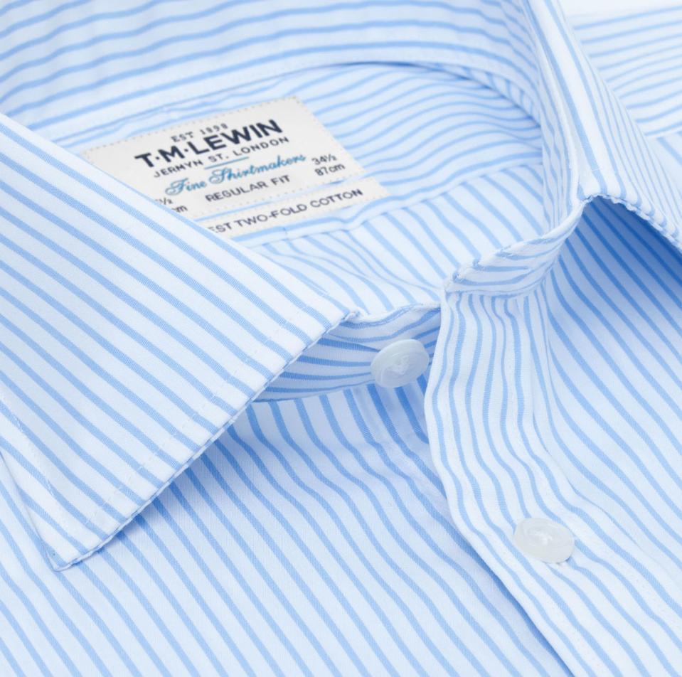 TM Lewin Regular Fit Light Blue Stripe Poplin Shirt
