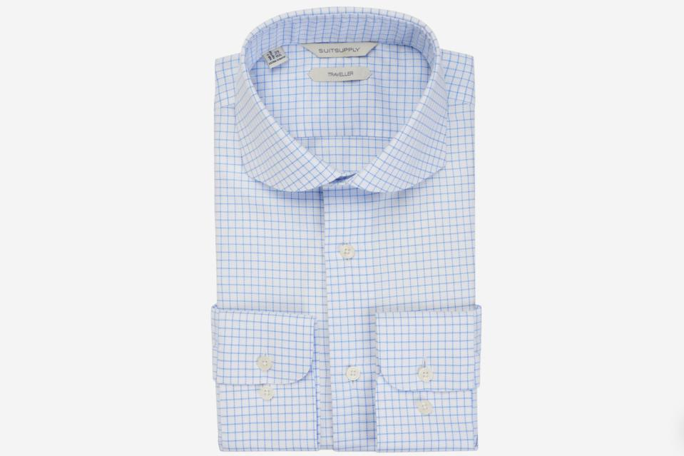 SuitSupply Blue Windowpane Traveller Shirt