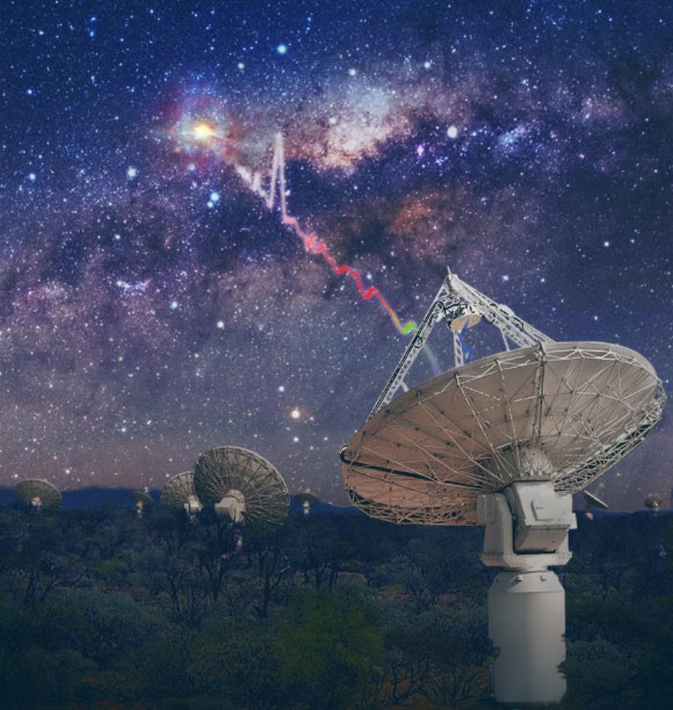 Galaxy shoots a laser at a radio dish.