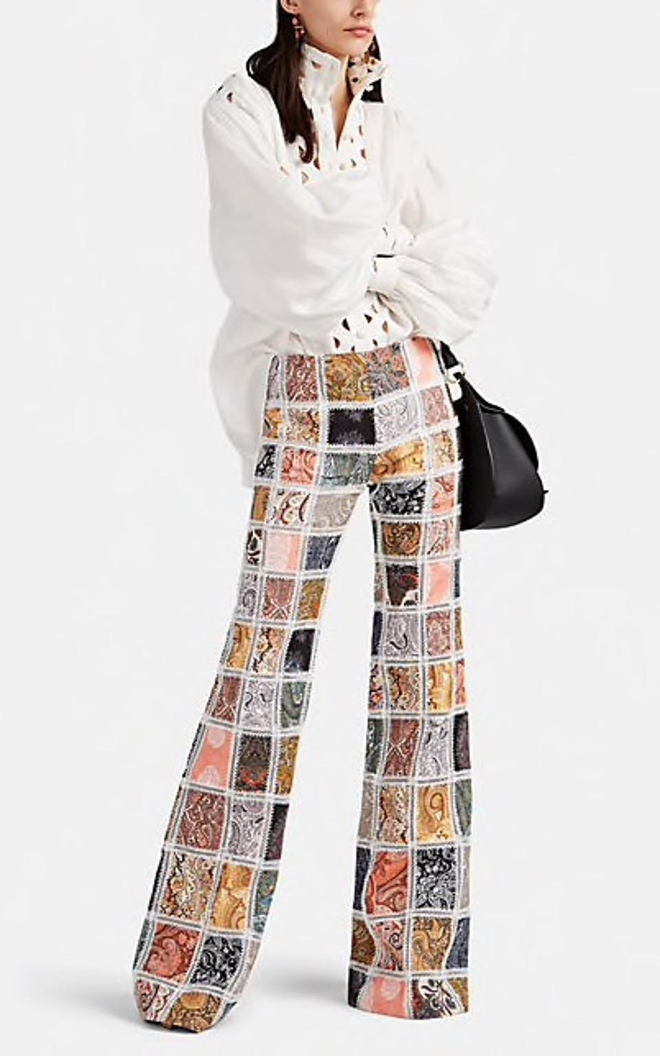 Zimmermann Ninety-Six Paisley Linen Patchwork Flared Trousers