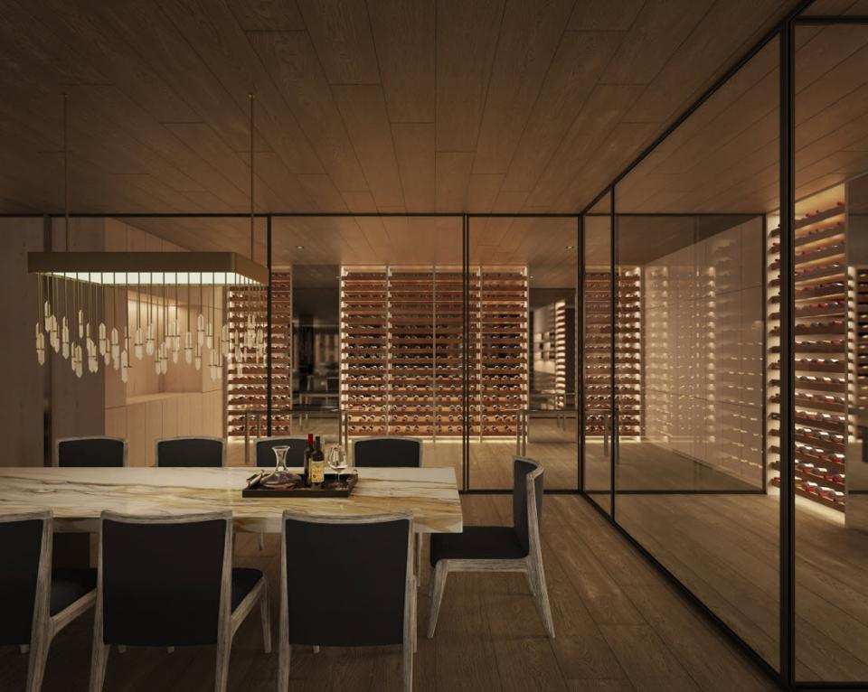 A rendering of what could be an unmatched residential wine cellar.