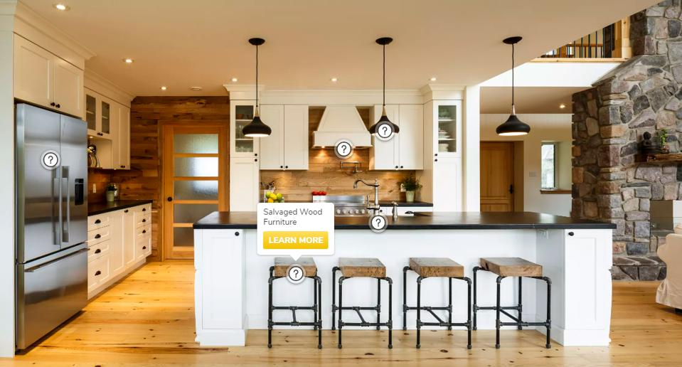 Eco-friendly kitchen featuring LED lighting, salvaged wood, Energy Star appliances.