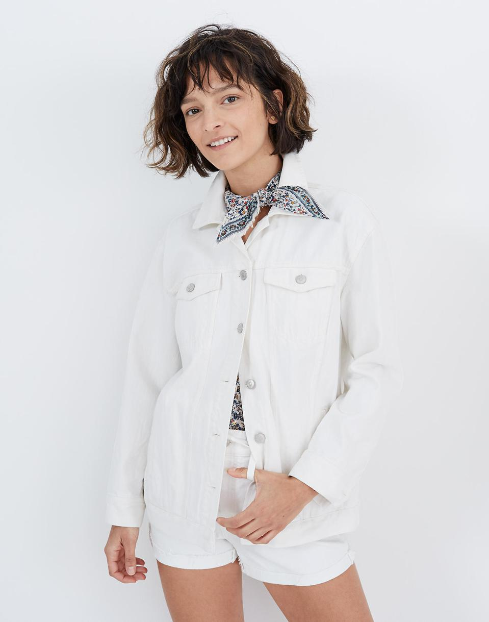 Madewell Oversize White Denim Jacket