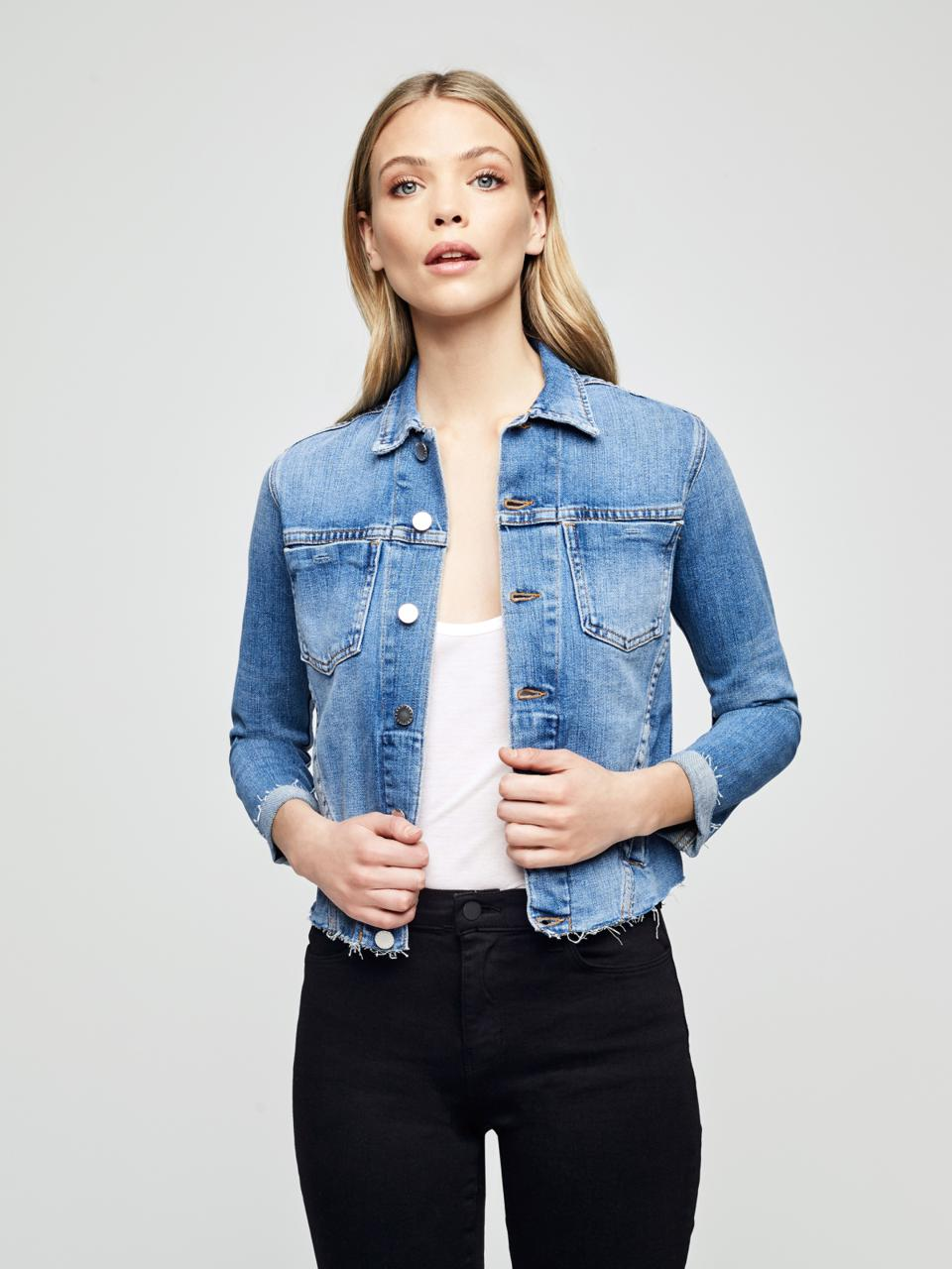 L'Agence Janelle Slim Raw Hem Denim Jacket