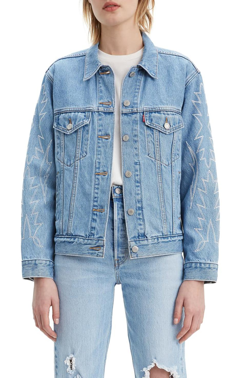 Levi's Ex-Boyfriend Embroidered Denim Trucker Jacket
