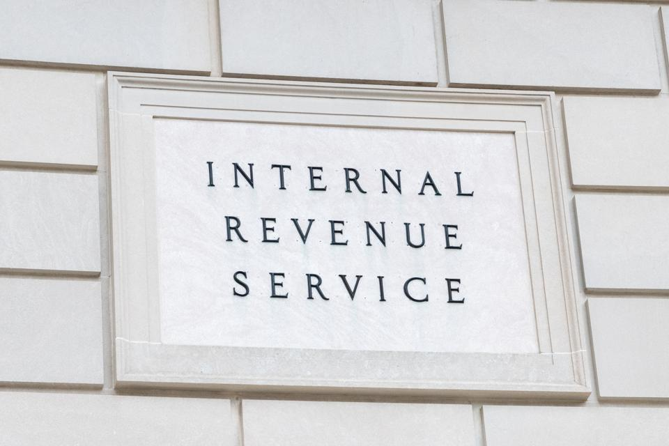 Internal Revenue Service sign in Washington, D.C...