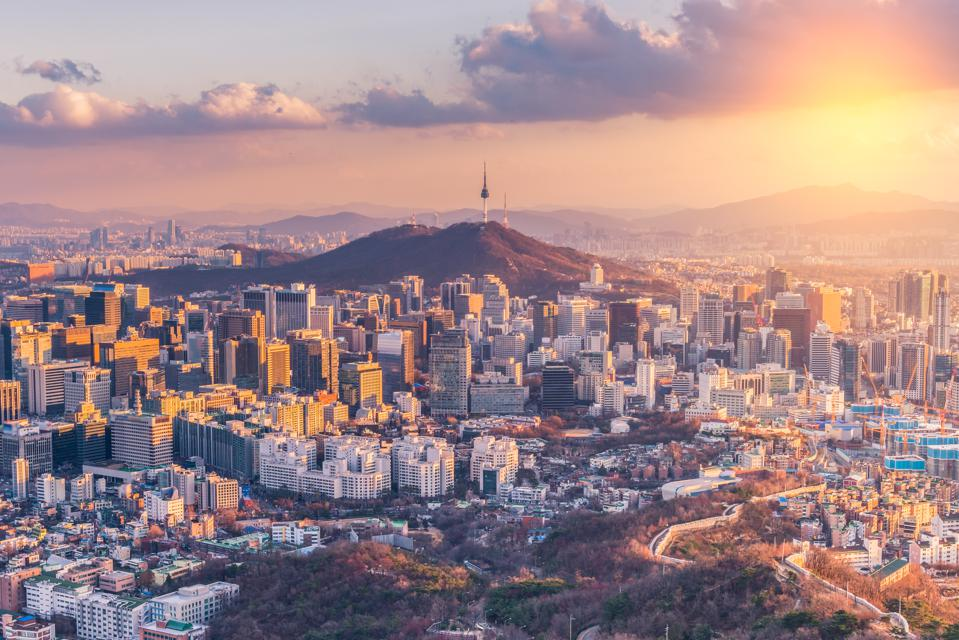 Sunset at Seoul City Skyline,South Korea.