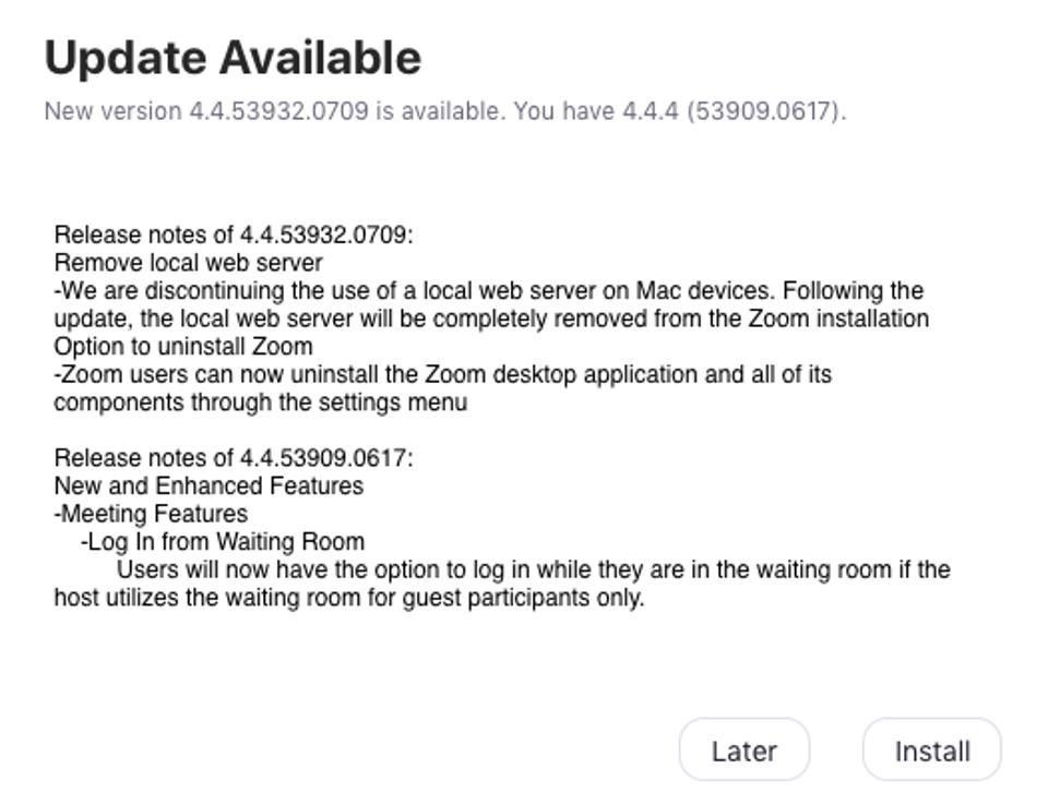 Zoom's release notes