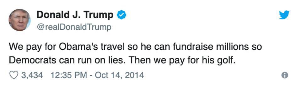 Trump tweet about Obama golfing