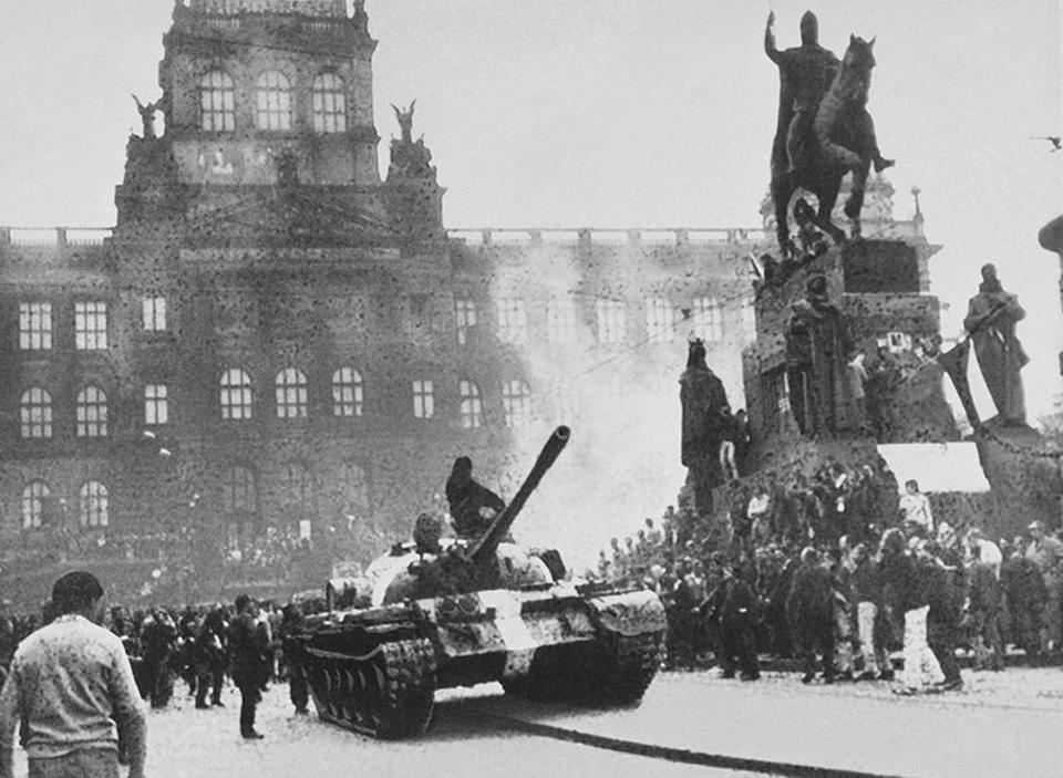 Aug 21, 1968 file picture shows a Soviet tanks that moves into Wenceslas Square in Prague.