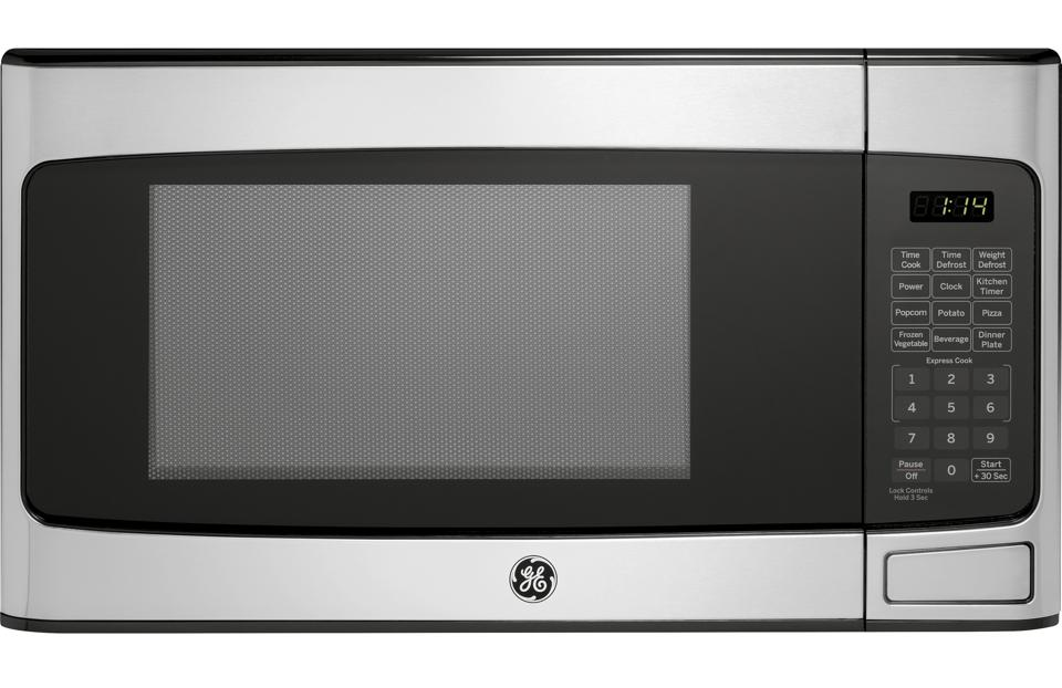 Stainless steel GE microwave oven.