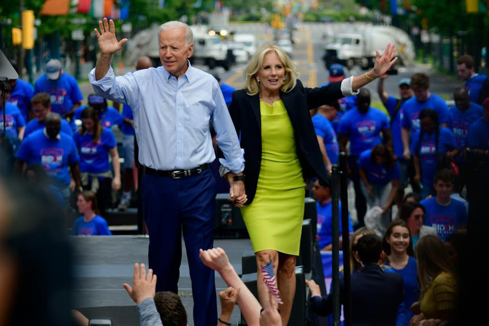 Former vice president and Democratic candidate Joe Biden with wife Jill