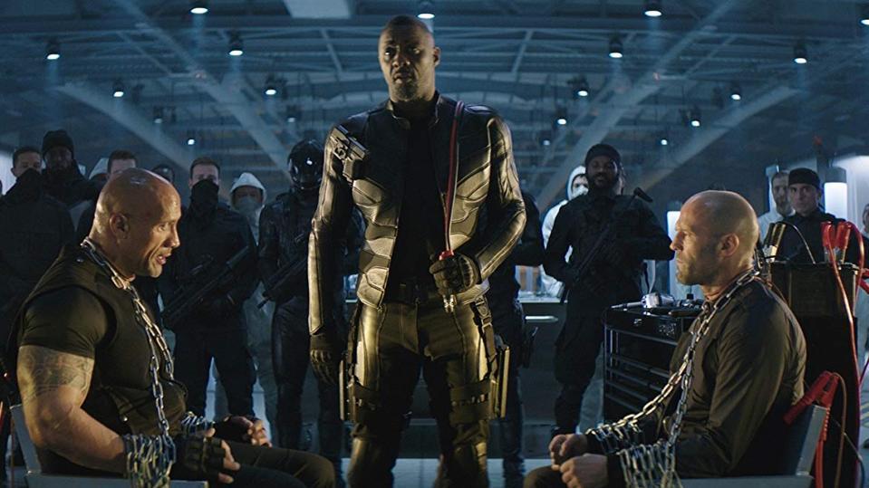 Dwayne Johnson, Idris Elba and Jason Statham in 'Hobbs & Shaw'