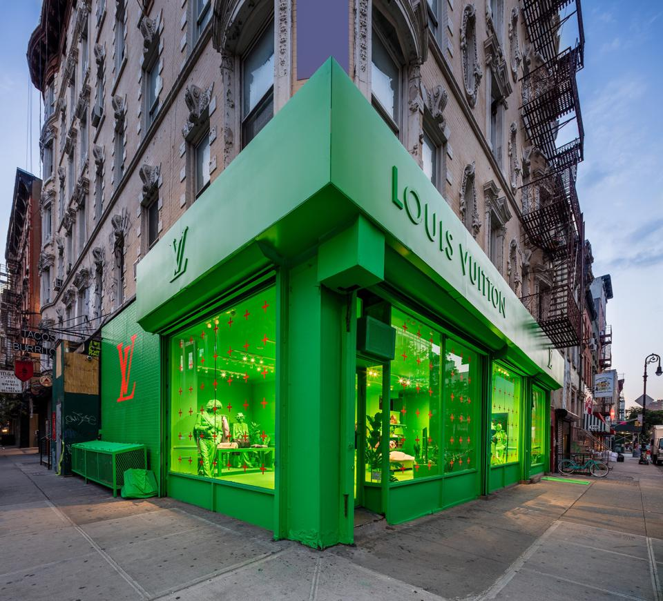 2ee384eec1 Louis Vuitton Created A Pop-Up In NYC Covered Entirely In Neon Green ...