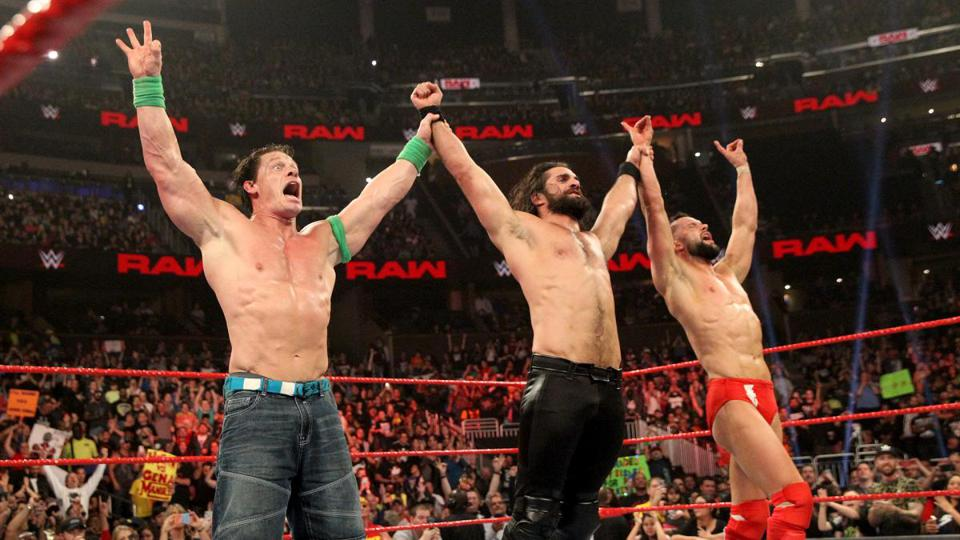 John Cena teams with Seth Rollins and Finn Balor