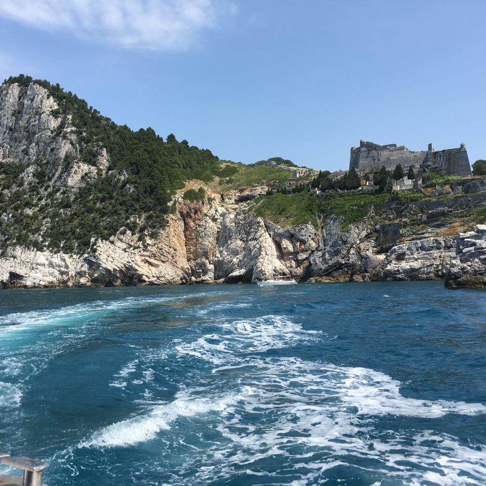 Sailing off the coast of the Palmaria islands.