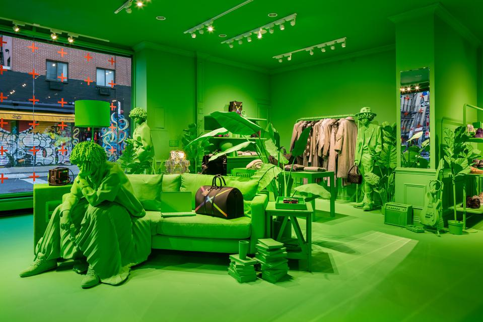 The interior of Louis Vuitton's temporary residency on 100 Rivington Street in New York City.