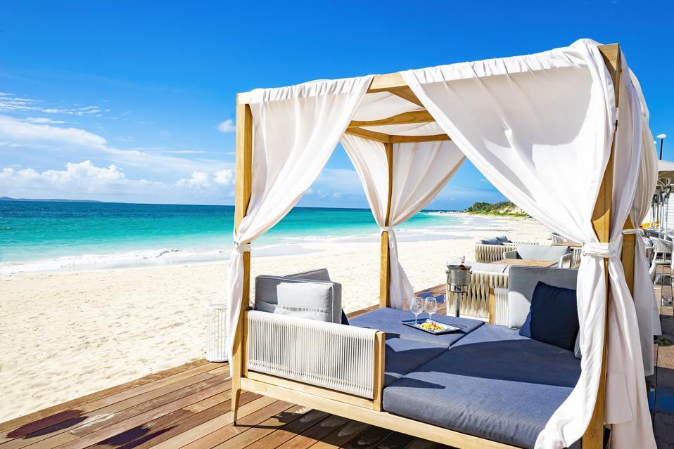 A beach cabana at CuisinArt Golf Resort & Spa