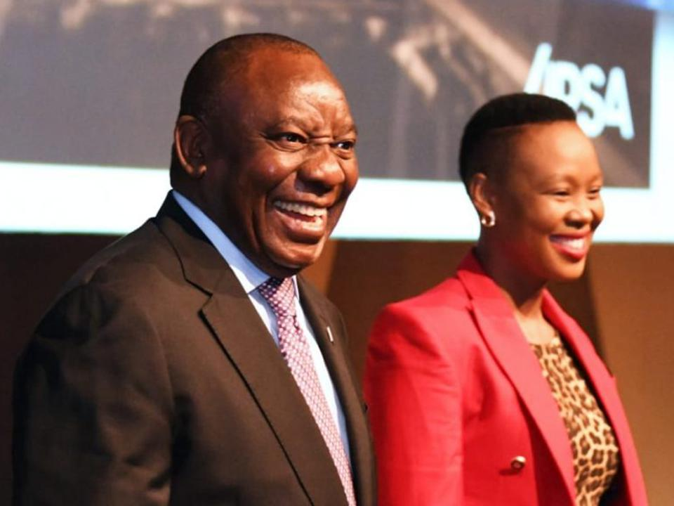 South African President Cyril Rampahosa with communications minister Stella Ndabeni-Abrahams.