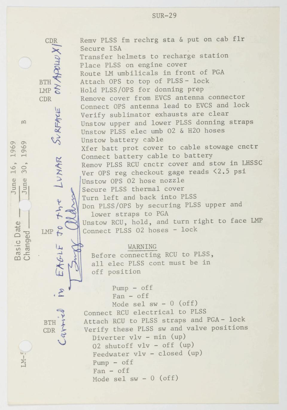 flown Apollo 11 checklist