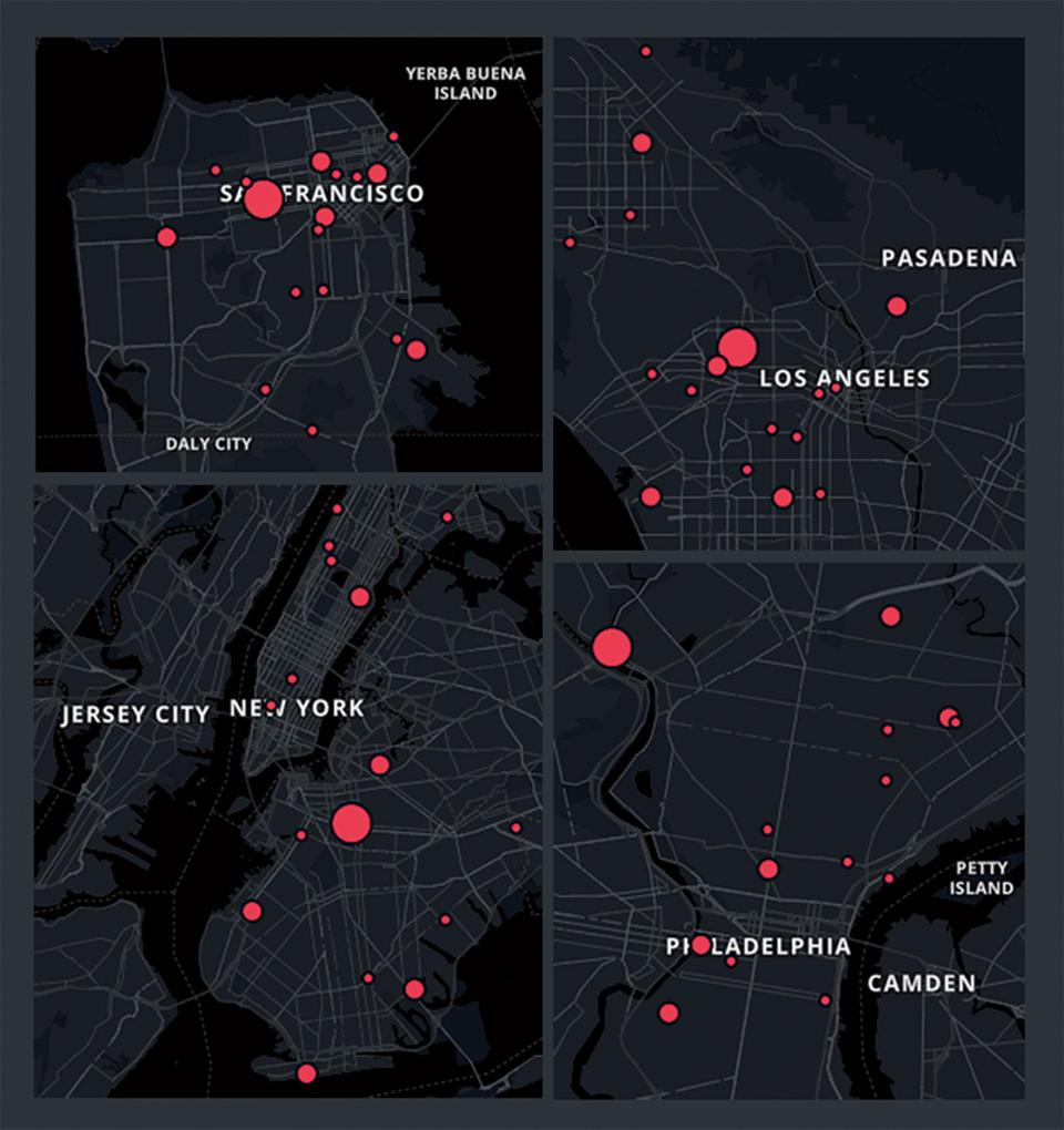 Citizen alerts users to gunfire in nyc, a fireball in the Bay Area (top) and a multicity mash-up of madness.