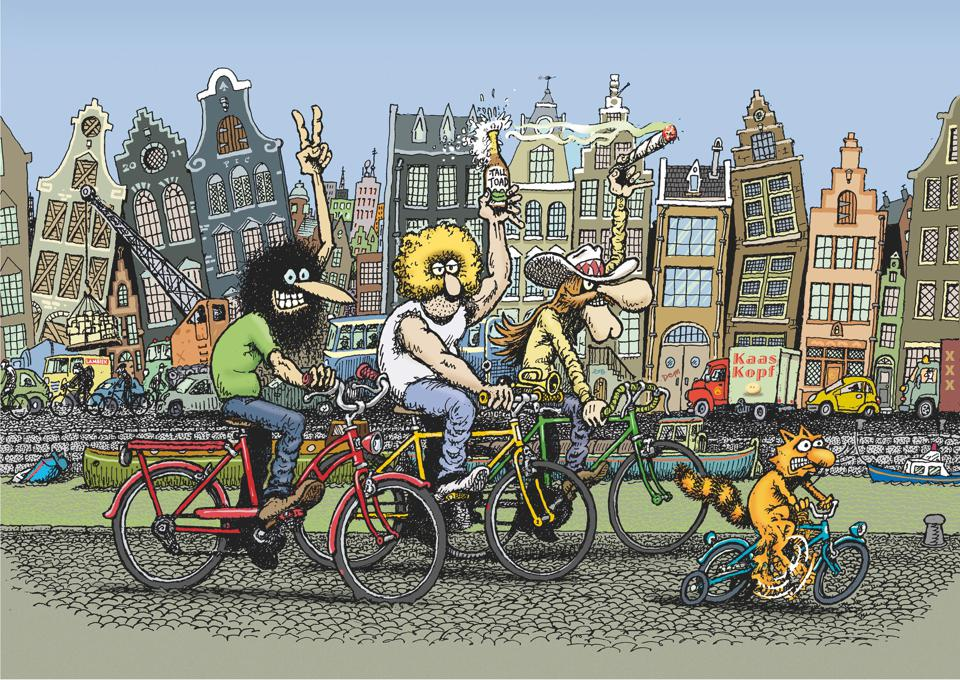 Cartoon image of key characters from underground comic The Fabulous Furry Freak Brothers