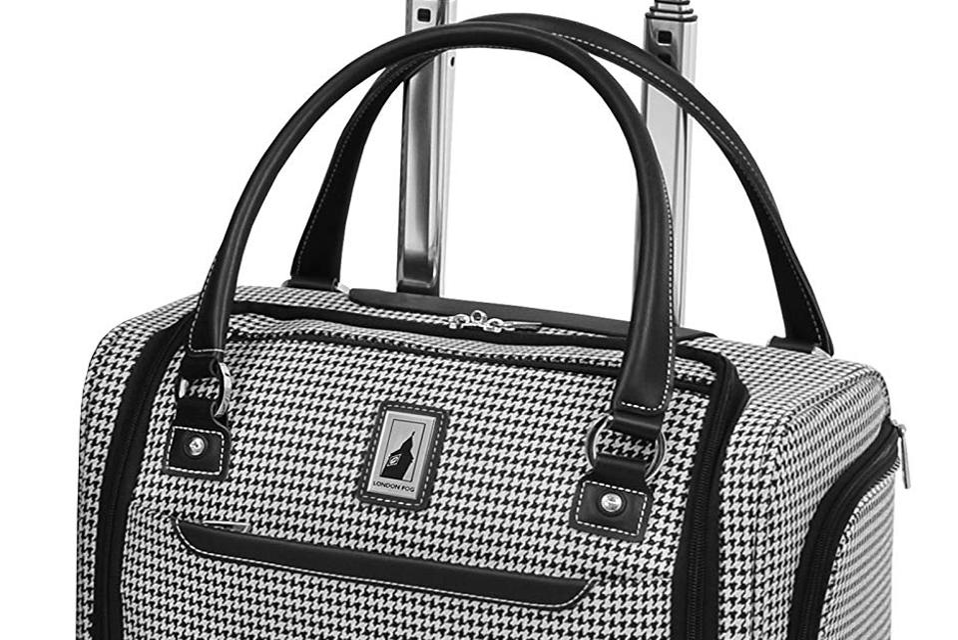 London Fog Cambridge II 15″ 8 Wheel Under Seat Bag Black White Houndstooth