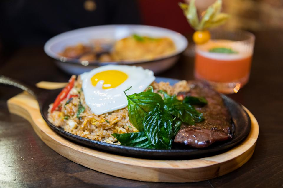 New York, NY - Basil fried rice and beef at Wayla