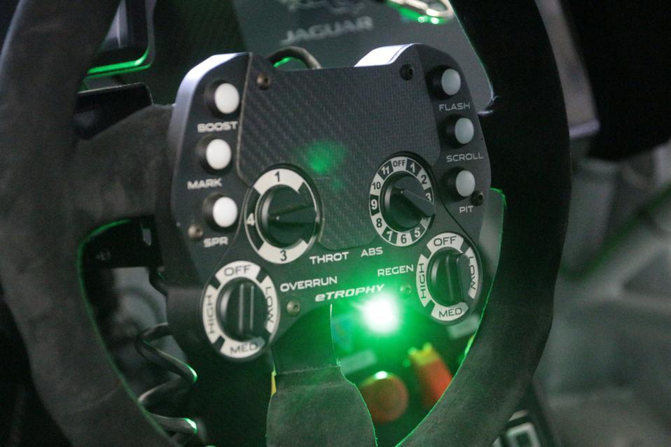 Jaguar i-Pace e-Trophy electric race car steering wheel