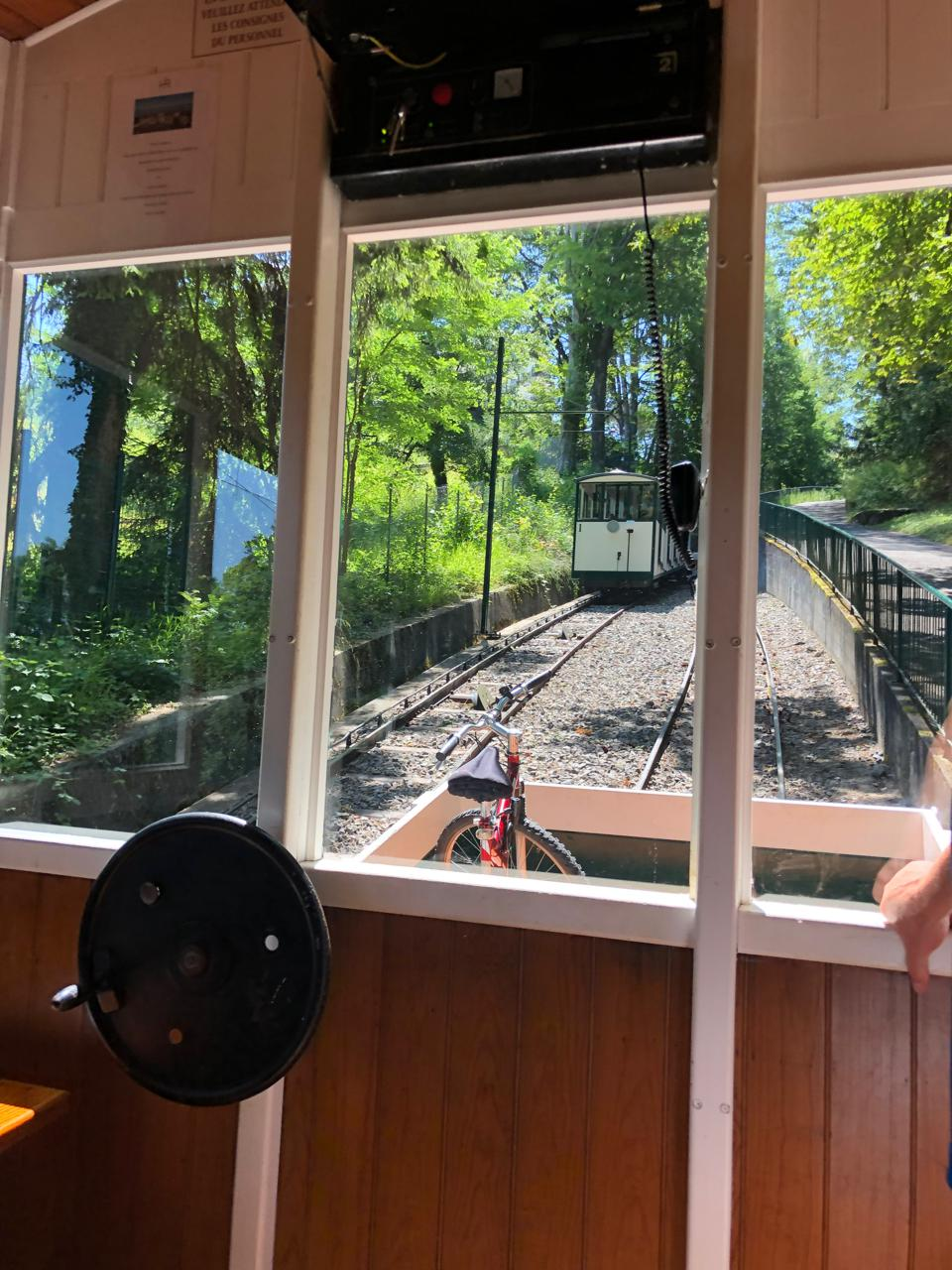 Evian's ancient funicular has been refurbished and brings travelers to the hills above the town