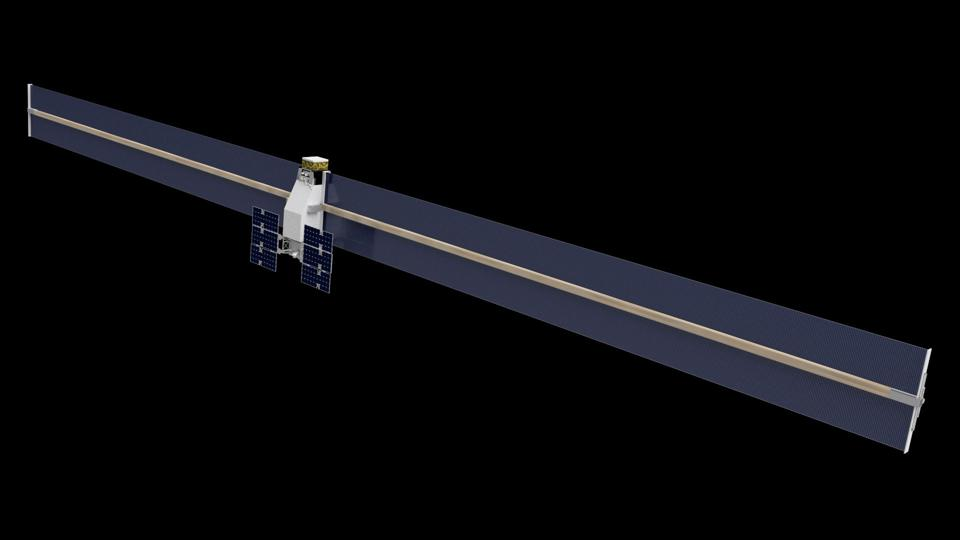 Artist's impression of 3D-printed solar arrays, created by Archinaut -- a Made In Space project.