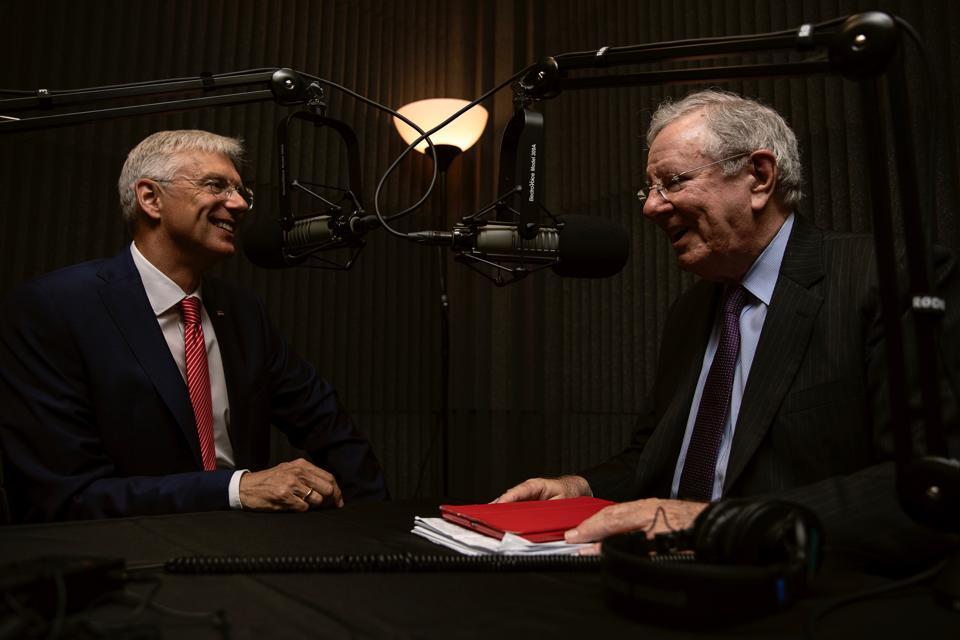 Prime Minister Krisjanis Karins and Steve Forbes