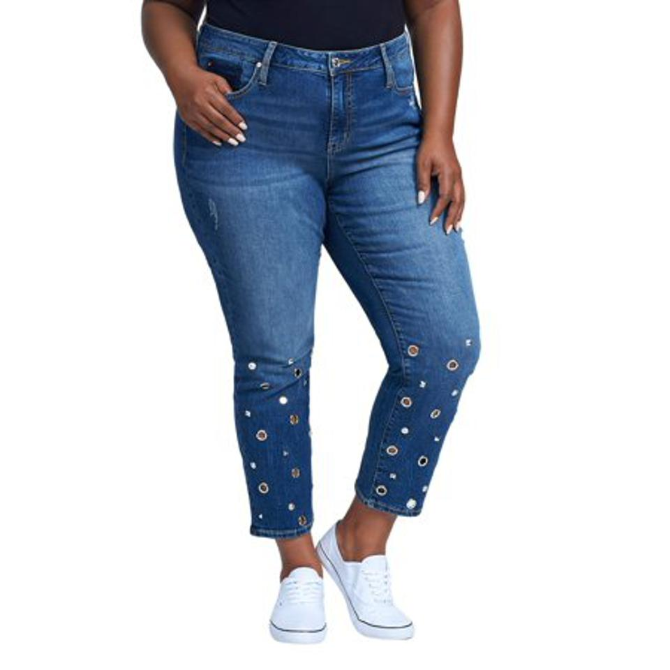 Seven7 Women's Plus Size Straight Crop With Grommet Detail