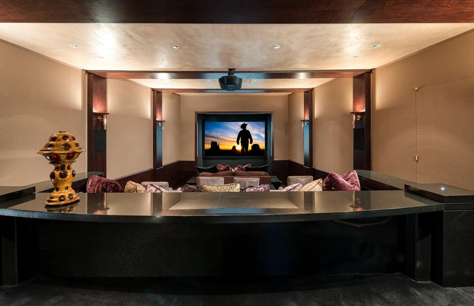 Home theater at Colorado retreat