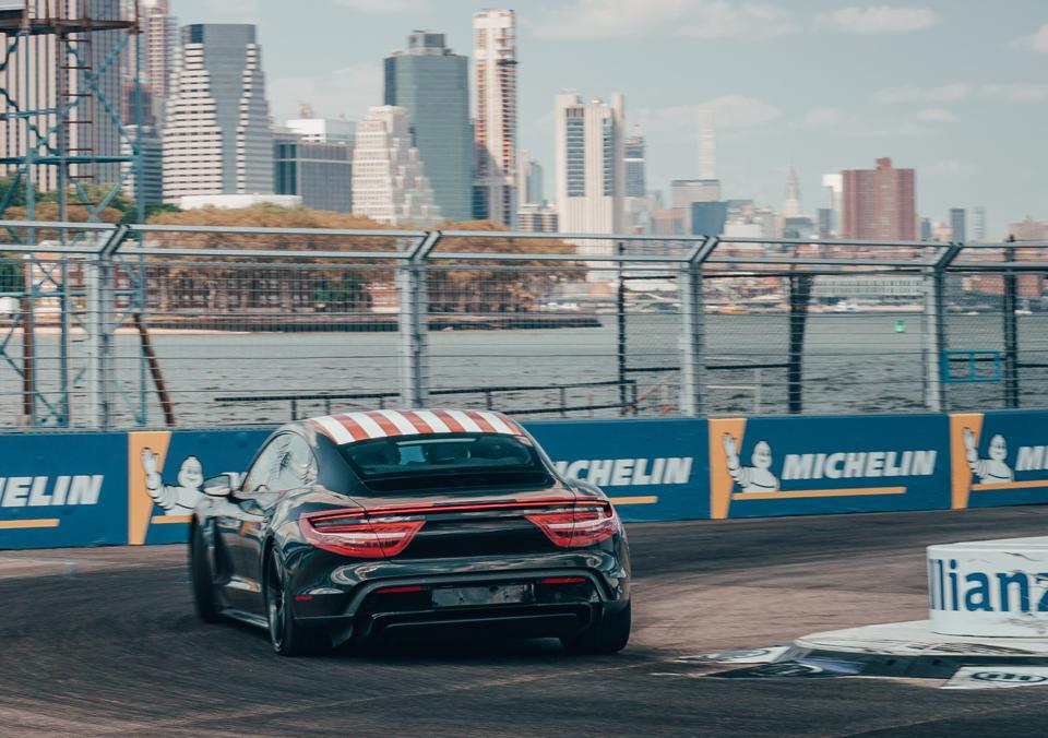 At the final Formula E race of the season, Neel Jani laped a pre-production Taycan in front of New York's skyline