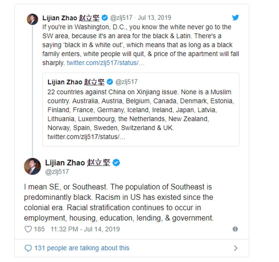 A screenshot of Zhao's since-deleted tweets calling out racial segregation in Washington, D.C.