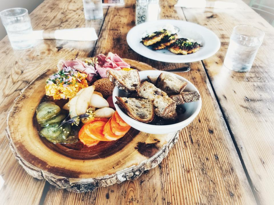 pimento cheese and pickle board with rutabaga fritters at Commune in Virginia Beach